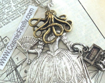 Octowoman Necklace Octopus Necklace Gothic Victorian Pirate Woman Assemblage Jewelry Steampunk Art Jewelry By Cosmic Firefly