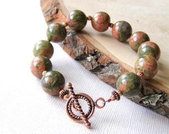 Copper Unikite Bracelet, Green Gemstone Bracelet, Rustic Gemstones, Orange and Green, Copper Toggle Clasp,  Fall Colors, Unique Jewelry
