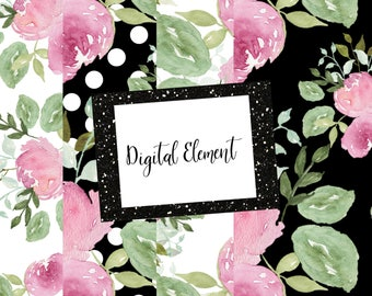 Digital Mini Paper Pack, Black and White Fashion Florals, Pink Peony Paper, Watercolor Paper, Wedding Design Paper. No. WC.PM101