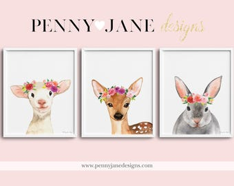 Floral Baby Animals Prints, Nursery Wall Art, Woodland Animals Nursery Theme, Woodland animals, Printable Digital Art, Nursery Prints