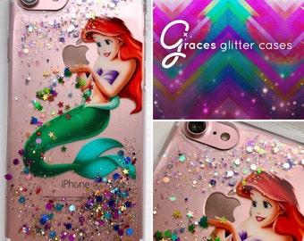 Ariel - Disney Glitter Case - the Little Mermaid iPhone 7 6 plus 6s 6 SE 5s 5c 5 4s 4 Samsung S3 S4 S5 S6 S6 edge S7 edge S8 - iphone x