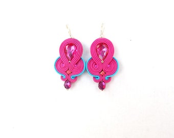 Hot Pink Dangle Earrings with Crystals Pink Soutache Earrings Handmade Earrings from Poland Hot Pink Hand Embroidered Soutache Jewelry