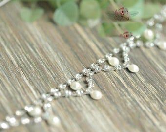 "1 meter 2cm 0.78"" wide ivory pearls Rhinestones beads tassel fringe tapes lace trim ribbon D31W997L0910R free ship"
