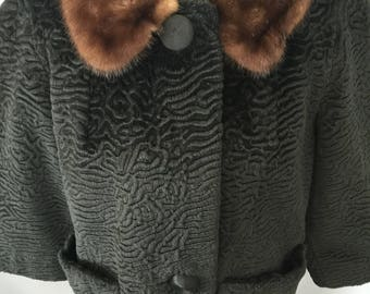 Black Textured Faux Fur Cropped Coat with Fur Collar