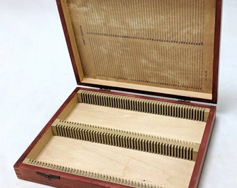 Vintage Wooden Dovetailed Medical Science Lab Microscope Slide Organizer Box Not Written In NOS ref 19685