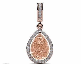 14K Morganite Necklace Morganite Pendant Pear Diamond Halo 14K Bride Necklace Bride Gift
