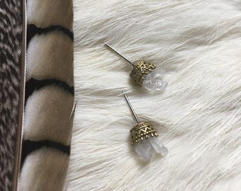 Crown ear studs, Clear crystal earrings, Crown earrings, Stud earrings, Raw crystal earrings, Boho, Quartz jewelry, Spiritual