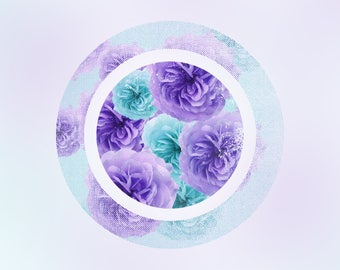 Teal and Purple Roses -  Digital Print - Instant Download - Wall Art - Flower Art - Circle Art - Bedroom Wall Art - A3 Print