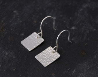 Small Silver Square Earrings - Horizontal Linear Textured Metalwork Hammered Sterling Silver Dangle Earrings Jewellery by Emma Dickie Design