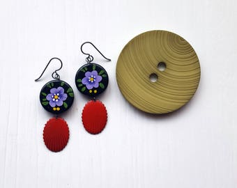 an eye for flowers - vintage beads and metal - purple flower, red, black, hand painted - sterling silver hooks