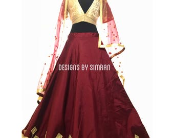 PLEASANTLY BURGUNDY - A Burgundy Skirt with Beige Blouse
