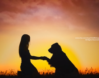 Shake My Paw -Girl & Dog Together In Silhouette And Sunset -Fine Art Photo Print On Metallic Paper -Home Decor Wall Art