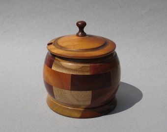 Segmented Wood Condiment Jar Vintage Turned Wood Box Handmade Inlaid Wood Lidded Jar