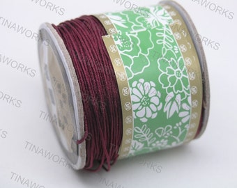 1mm Burgundy Chinese Knotting Cord / Braided Nylon Bead Cord (136 yd roll)
