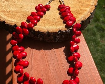 Beautiful Red Teardrop Shaped Coral Necklace