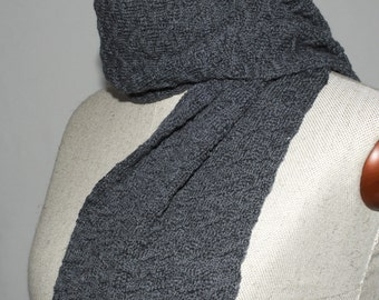 Large Knit Scarf, merino knitted scarf, handmade scarf, grey wool scarf, textured scarf, merino wool, festotu, gift for him
