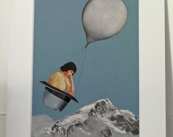 Surreal Collage Art Print, Ready to Frame Wall Decor, Minimalist Art, Mountain Art, Air Balloon with Retro Girl in a Hat, Contemplation