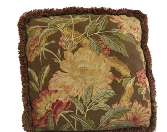 """Vintage 20"""" x 20"""" Floral Pillow with Fringe Shabby Cottage Feather Stuffed 1980s"""
