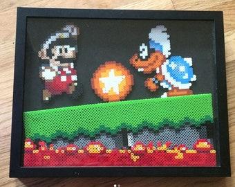 Super Mario World Perler Shadow Box - Mario vs Iggy