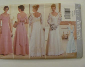 Butterick 4772 Formal Bridesmaid Wedding Dress Sewing Pattern Size 6-8-10, 12-14-16 or Plus size 18-20-22 1996