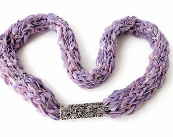Lavender scarf necklace, yarn necklace, lilac knitted jewellery, scarf jewelry, handmade circle scarf, dress scarf, purple knit necklace