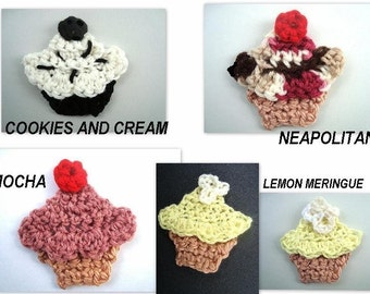 crochet pattern-  num. 83.... CUPCAKE and ICE CREAM cone appliques permission to sell your finished items, instant download