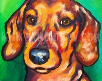 12x12 dachshund print