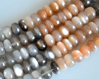Rainbow Moon Stone Semi Precious Stone Beads Natural Multi Color Size 4-5x8mm and 5-6x9mm 8inches #2079