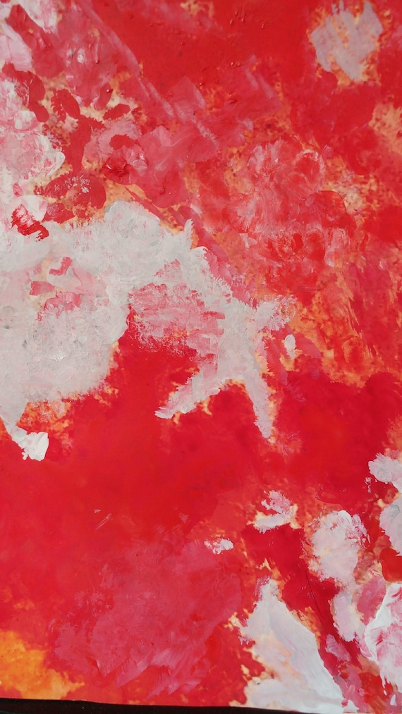 Abstract art painting print red Painting paper art modern
