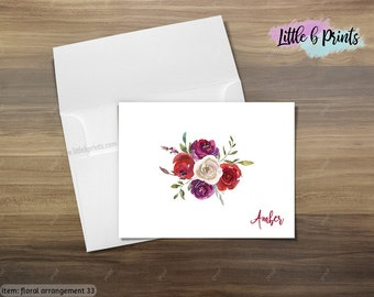 Floral Watercolor Personalized Notecard Set of 10 cards with envelopes Stationery Set
