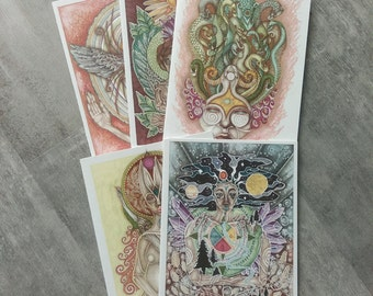 Goddess Cards Set of 5 (Choose Your Own) Greeting Cards