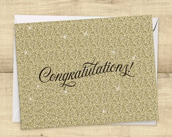 Congratulations Card printed on real, no-mess glitter!