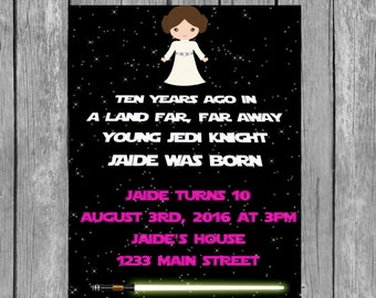 leia invitation, leia birthday party, leia invite, leia invitations, leia birthday invitation, leia party, star wars party,leia,girl invite