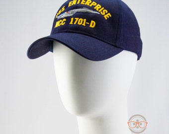 Star Trek Hat - The Next Generation TNG - USS Enterprise 1701-D - Embroidered Geeky Baseball Cap - Naval Hat Inspired