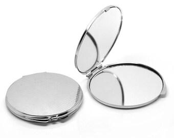 "1 pc. Silver Circle Make Up Compact Mirror Blanks - 8cm x 7.4cm (3 1/8"" x 2 7/8"") - DIY"
