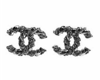 Designer Inspired silver-tone Classic earrings with rhinestones, pierced earrings