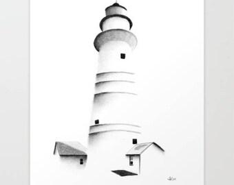 Boston Light, Art Print, Graphite, Pencil, Drawing, Black and White, Minimalist, Abstract, Decor, Art, Print