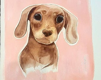 SOLD- Dachshund/ Sausage dog painting