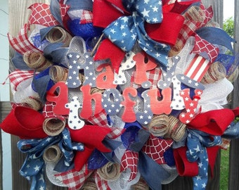 Americana Wreath, 4th of July wreath, USA Wreath, Patriotic Wreath, Red White and blue Wreath, Door Wreath,July 4th Wreath, Veterans Day
