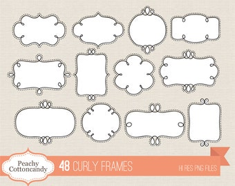 BUY 2 GET 1 FREE 48 Digital Curly Frames - doodle frame clipart - digital hand drawn frames - Personal and Commercial Use