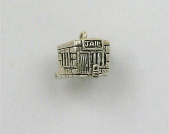 Sterling Silver 3-D Movable Jail Charm