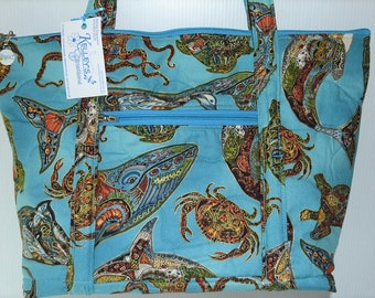 Quilted Fabric Tote with Beautiful Sea Creatures Crab Octopus Shark Dolphin Whale Turtle etc.