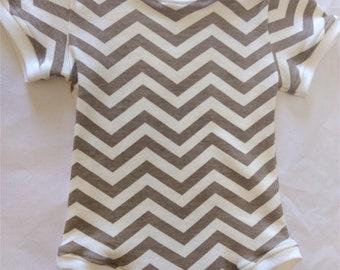 ORGANIC Baby Bodysuit Taupe Chevrons - 6 mos - HANDMADE