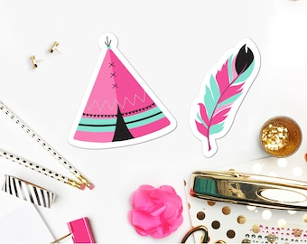 Instant Download Cupcake Toppers Cut Outs / Teepee and Feather Party Decor / Boho Birthday Party / Tribal Party / Hot Pink and Teal