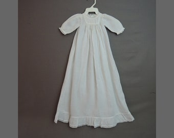 Vintage Baby Infant Gown Edwardian 1900s Cotton Dress, As Is with old repairs