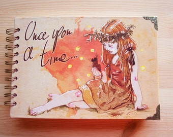 "NOTEBOOK ""Once upon a time"" fantasy colour pages, white pages , for drawing, witch, 150 pages, big, sketchbook, notebook, perfect gift"