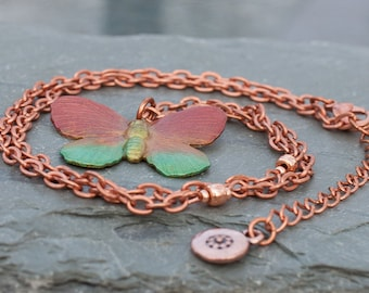 Iridized Butterfly Pendant on Antique Copper Necklace - FREE SHIPPING