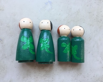 St. Patrick's Day Peg Dolls, Holiday, Gift, Lucky, Shamrock, Irish, Fairy Garden, Decor