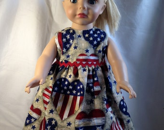 """Patriotic red, white and blue dress for 18"""" doll"""