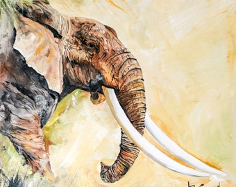 Fine Art Painting, Elephant Profile, by Patricia  Carroll